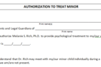 "Download ""Authorization to Treat a Minor"" form"